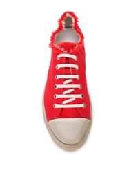 Saint Laurent Red Distressed Effect Raw Edge Sneakers for men