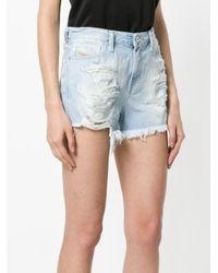DIESEL - Blue Distressed Patch Denim Shorts - Lyst