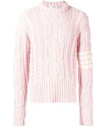 Thom Browne Pink 4bar Aran Cable Pullover for men