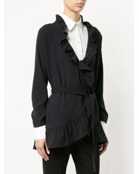 Marc Cain Blue Frill-trim Belted Jacket