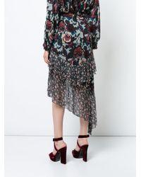 Anna Sui Blue Floral Print Asymmetric Skirt