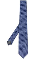 Z Zegna Blue Geometric Patterned Tie for men