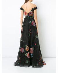 Robe longue à fleurs Marchesa notte en coloris Black