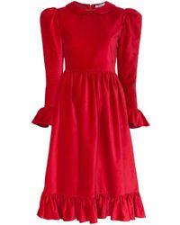 BATSHEVA ピーターパンカラー ドレス Red