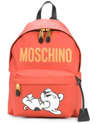 Moschino Red Dog Print Backpack