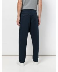 Universal Works Blue Pleated Twill Pants for men