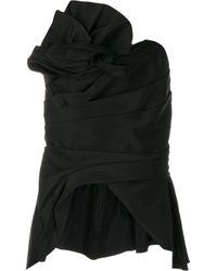 Marchesa ドレープ ぺプラムボディスーツ Black