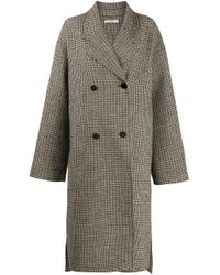 ODEEH Brown Plaid Double-breasted Coat