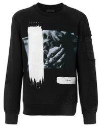 RH45 - Black Distressed Printed Sweatshirt for Men - Lyst