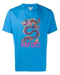 T-shirt con stampa dragone di KENZO in Blue da Uomo