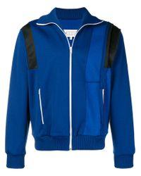 Maison Margiela Blue Zipped Colour-block Sweatshirt for men