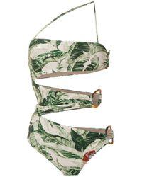 X Cult Gaia Printed Swimsuit Adriana Degreas, цвет: Green