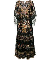 Camilla Black Lace-trimmed Floral-print Dress