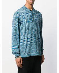 メンズ Missoni ストライプ ポロシャツ Blue