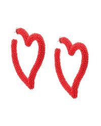 Heart beaded earrings Sachin & Babi en coloris Red