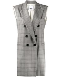 Erika Cavallini Semi Couture Gray Deconstructed Double Breasted Check Gilet