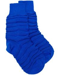 Issey Miyake Blue Fitted Cuffs Socks for men