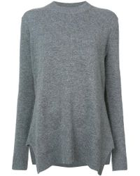 Derek Lam - Gray Long Sleeve Crewneck Sweater With Godet Inserts - Lyst