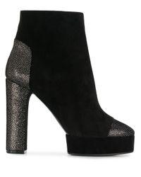 Casadei Black Glitter Heel Platform Boots