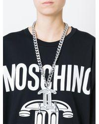 Moschino Metallic Interlocking C-clamp Necklace