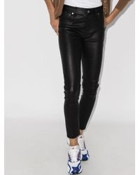 Polo Ralph Lauren Black Leather Skinny Trousers