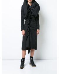 Yohji Yamamoto Black Gathered Dress