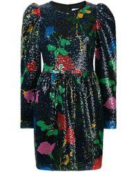 MSGM Blue Floral Glitter Short Dress