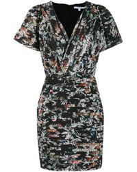 10 Crosby Derek Lam Black Schmales Kleid mit Blumen-Print