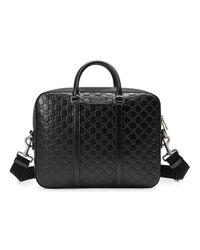 Кожаный Портфель ' Signature' Gucci для него, цвет: Black