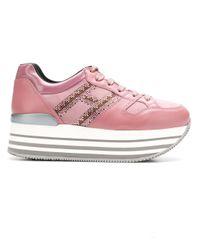 Hogan Pink Gestreifte Plateau-Sneakers