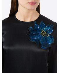 Christopher Kane Blue Sequin Flower Brooch