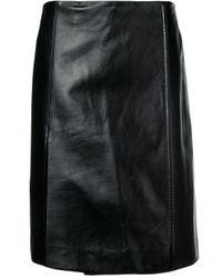 Prada レザー ストレートスカート Black