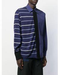 メンズ Marni コントラスト パネル シャツ Blue