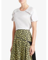 Burberry - White Ruffle Detail T-shirt - Lyst