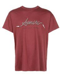 Camiseta con motivo del logo Amiri de hombre de color Red