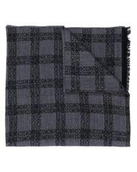 メンズ Moschino ロゴ チェック スカーフ Gray