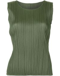 Pleats Please Issey Miyake Green Pleated Tank Top
