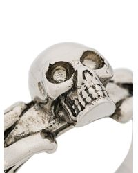 Alexander McQueen - Metallic Skull Embossed Ring for Men - Lyst