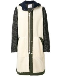 Sacai - White Herringbone Contrast Sleeve Coat for Men - Lyst