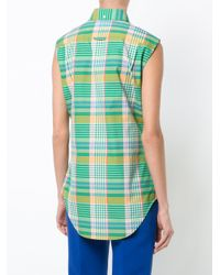 Thom Browne Green Checked Sleeveless Button-down Shirt