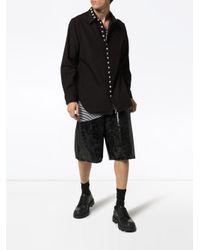 メンズ Yohji Yamamoto ボタンディテールシャツ Black