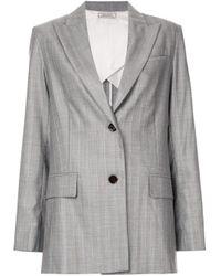 Nina Ricci Gray Striped Relaxed Blazer