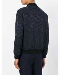 Saint Laurent Blue Camouflage Pattern Bomber Jacket for men