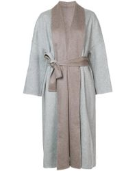 Fabiana Filippi - Gray Two-tone Belted Coat - Lyst