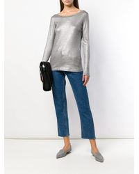 Majestic Filatures Metallic Round Neck Fine Knit Top