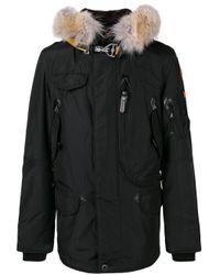 Cappotto multitasche con pelliccia di Parajumpers in Black da Uomo
