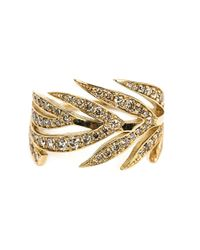 Marc Alary Metallic Diamond Leaf Ring