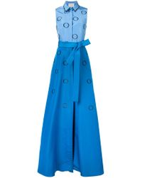 Carolina Herrera - Blue Embroidered Faille Shirt Gown - Lyst