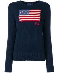 Polo Ralph Lauren Blue Long Sleeve Flag Print Sweater