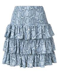 MICHAEL Michael Kors Blue Snakeskin Print Ruffle Skirt
